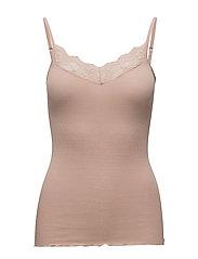 Silk strap top regular w/lace - ROSE DUST
