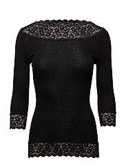 Silk t-shirt regular 3/4 s w/ lace - BLACK