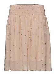 Skirt - CREAM TAN FEATHER PRINT