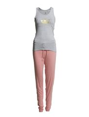 Womens tanktop and pants - Grey Melee & Blossom Pink
