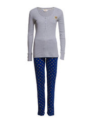 Pyjama with rib top - Grey and blue allover