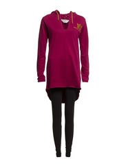 Hoody dress - Beet red and black
