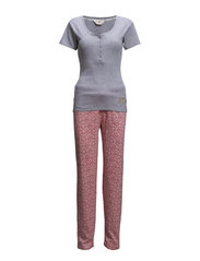 Pyjama rib top & allover pants - Grey melee & allover Impatience pink
