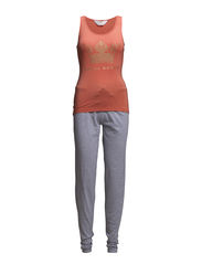 Tanktop and pants - Fresh Salmon and grey melee