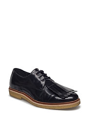 CAST CREEP DERBY SHOE W/DETACHABLE FRINGE - BLACK