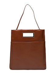 New Courier flat tote caviar - COGNAC