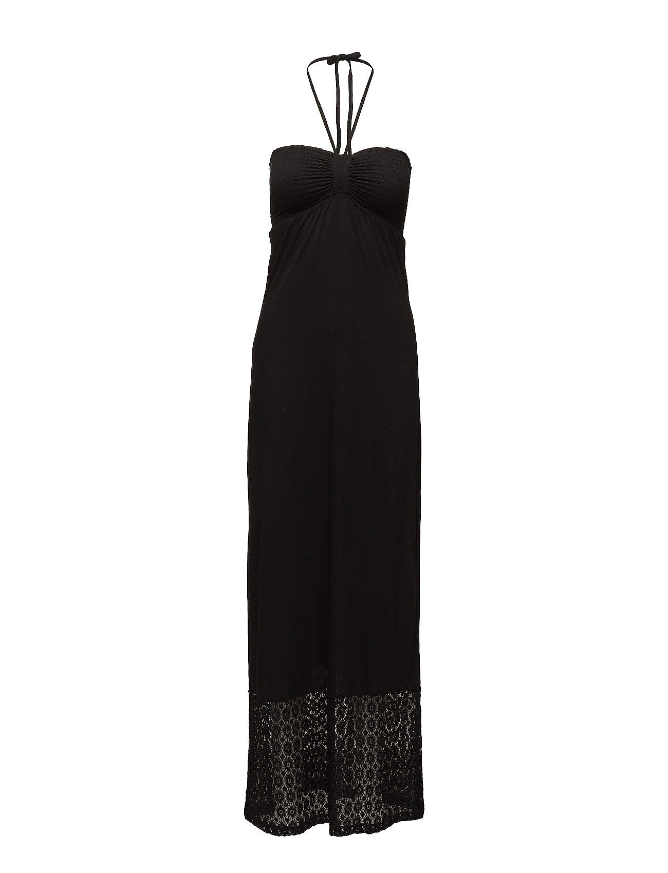 Smock Jersey Dress With Lace Saint Tropez Maxi Kjoler til Kvinder i Sort