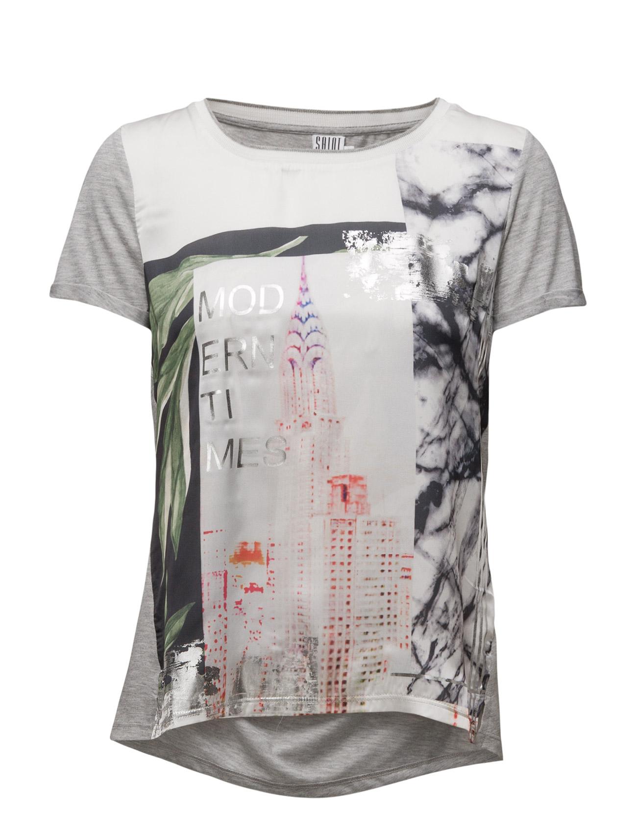 T-Shirt With Front Print Saint Tropez Kortærmede til Damer i C.Grey M