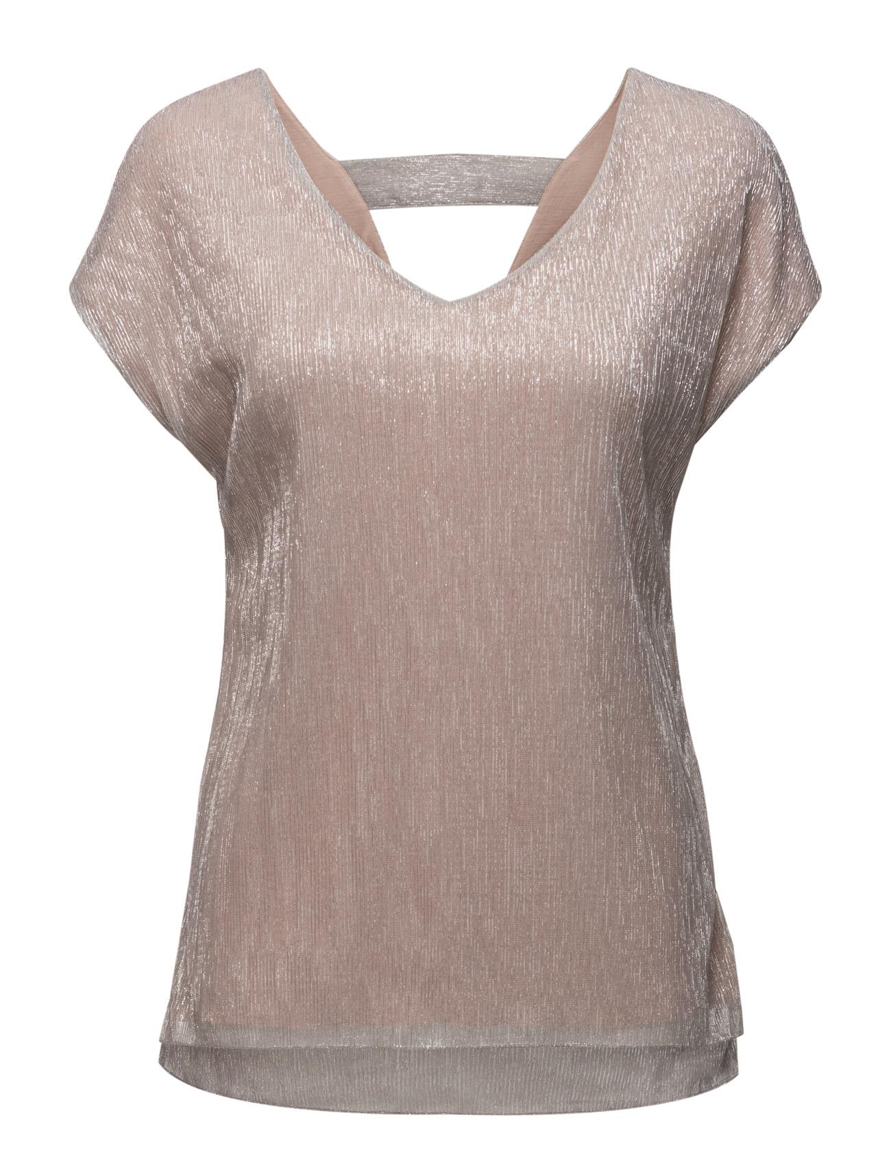 Pleated Shimmer T-Shirt Saint Tropez Kortærmede til Damer i