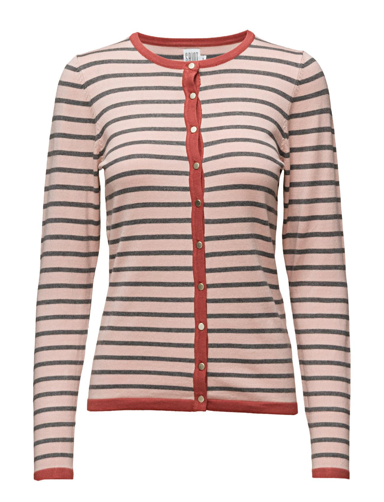 Knit Cardigan With Stripes Saint Tropez Cardigans til Kvinder i Bl Deep