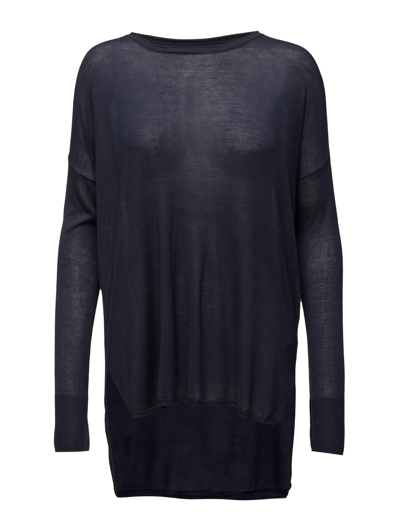 Blouse W Rib Sleeve Detail Saint Tropez Sweatshirts til Damer i P.Night