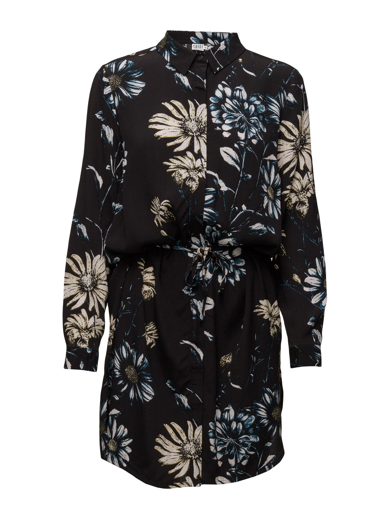 Daisy Printed/Solid Col. Dress Saint Tropez Knælange & mellemlange til Kvinder i Sort