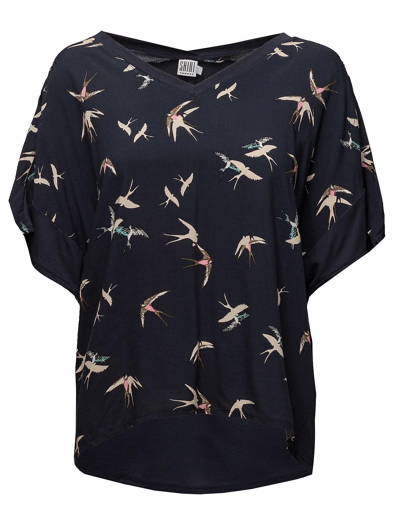 T-Shirt W.Bird Print Saint Tropez Kortærmede til Damer i
