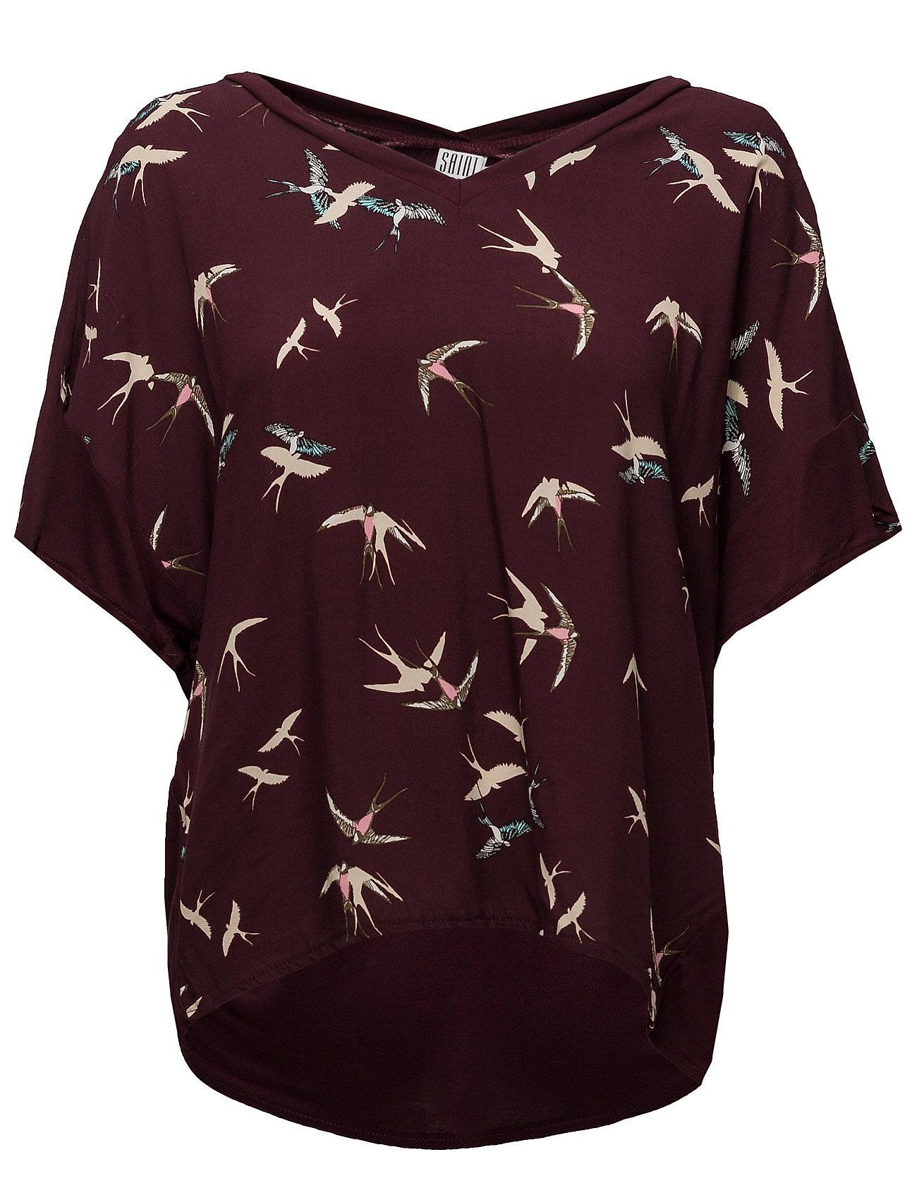 T-Shirt W.Bird Print Saint Tropez Kortærmede til Damer i Vin