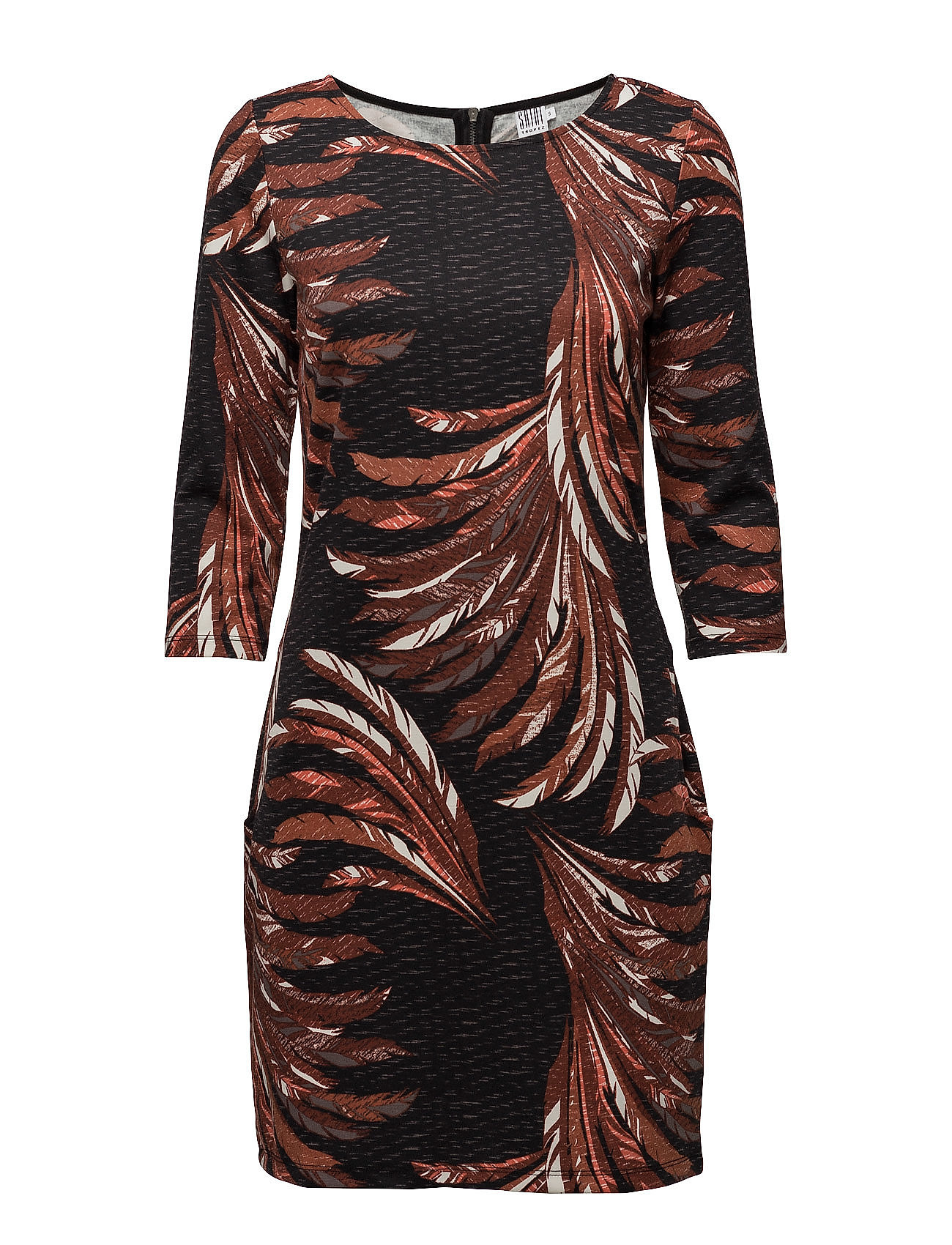 Feather Printed Jersey Dress Saint Tropez Kjoler til Kvinder i Sort