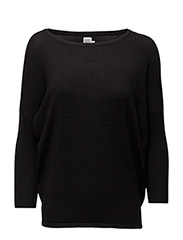 KNIT BLOUSE W RIB SL - BLACK