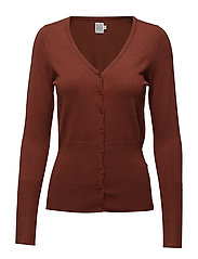 L/S CARDIGAN V-NECK - CHERRY M.