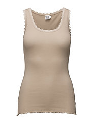 RIB TANK TOP WITH LACE - BASIC - CEMENT