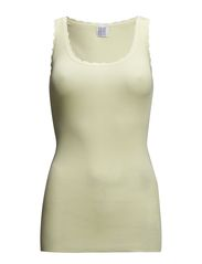 RIB TANK TOP WITH LACE - BASIC - W.Yellow