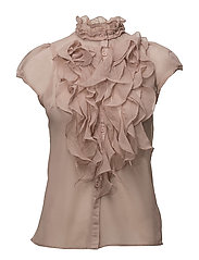 S/S TOP W RUFFLE FRONT - FAWN
