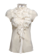 S/S TOP W RUFFLE FRONT