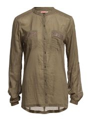 SHIRT WITH STONES ON POCKET - ArmyGreen