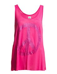 Saint Tropez TANK TOP W GLITTER PEACE SIGN