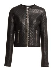 Saint Tropez LEATHER JACKET W QUILT DETAILS