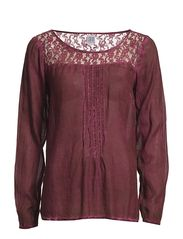 BLOUSE WITH LACE AND WASH - Port
