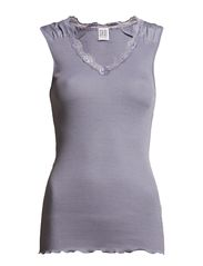 RIB TANK TOP WITH LACE - Blue Ice