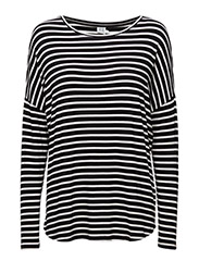 STRIPED LONG SLEEVE TOP - Black