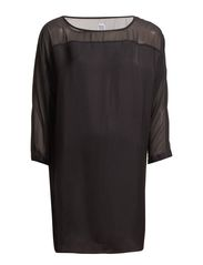 TUNIC WITH MIXED FABRICS - Black