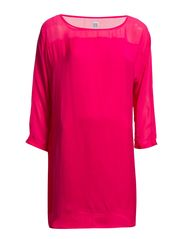 TUNIC WITH MIXED FABRICS - Fuchsia