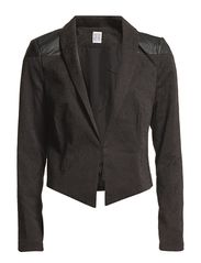 PU DETAIL BLAZER - Black