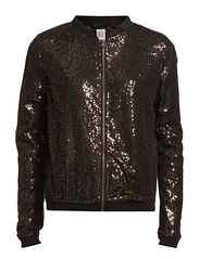 SEQUIN BOMBER JACKET - Black