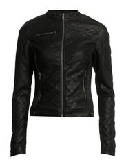 PU QUILT JACKET - Black