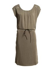 DRESS WITH STAR EMBROIDERY - Dk.Olive