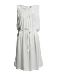 DRESS WITH LACE - White
