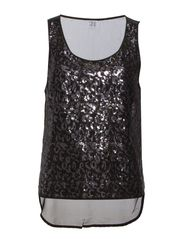 TANK TOP W. SEQUINCE ARTWORK - Black