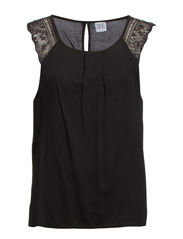 TOP WITH LACE INSERT - Black