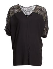 BLOUSE W. LACE COMBO - Black