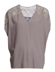 BLOUSE W. LACE COMBO - Frost