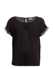 BLOUSE WITH LACE INSERT - Black