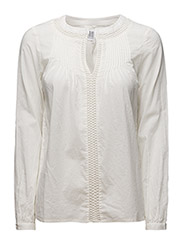 BLOUSE WITH MESH INSERT - Ice
