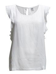 BLOUSE W. FRILL SLEEVE - White