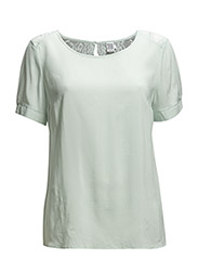 BLOUSE W LACE INSERTED BACK - C.Mint