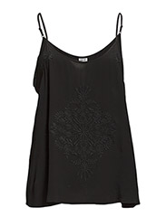 TOP W EMBROIDERY - Black