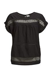 BLOUSE W CROCHET TAPE - BLACK
