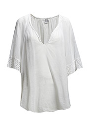 BLOUSE W LACE TRIM - WHITE