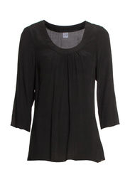 FEMININE 3/4 FLARED TOP - Black